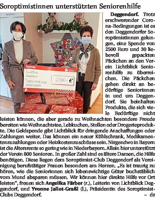 01.01.2021 | Deggendorfer Zeitung | Soroptimistinnen unterstützten Seniorenhilfe