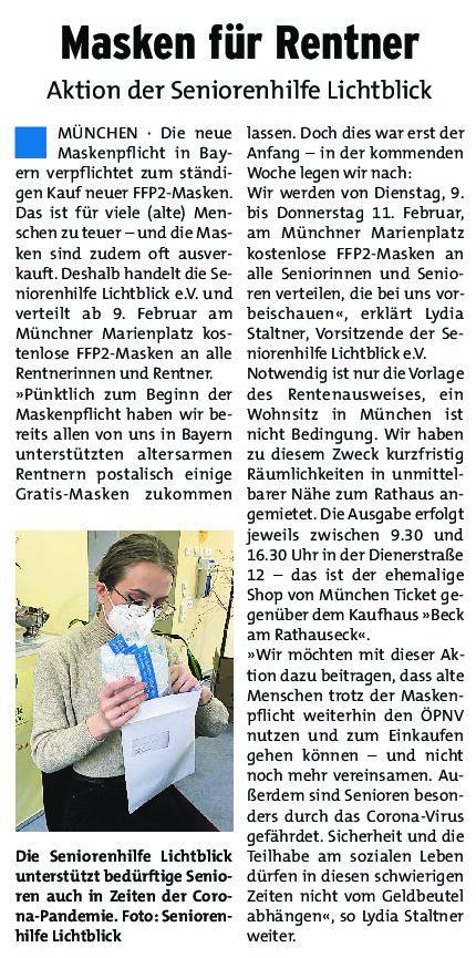06.02.2021 | Münchner Wochenanzeiger | Masken für Rentner