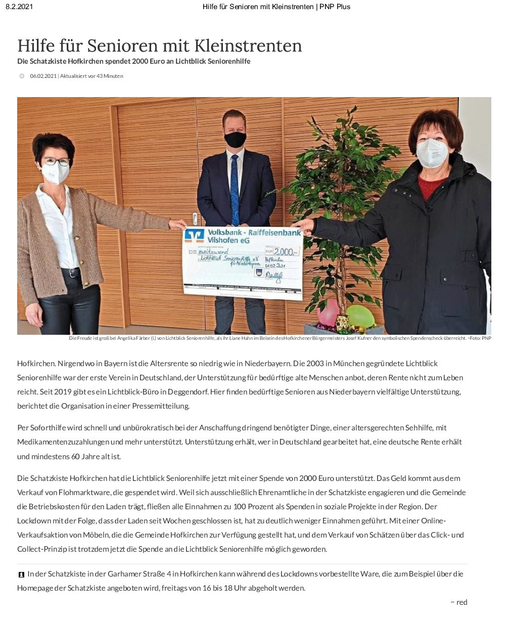 06.02.2021 | Passauer Neue Presse | Hilfe für Senioren mit Kleinstrenten