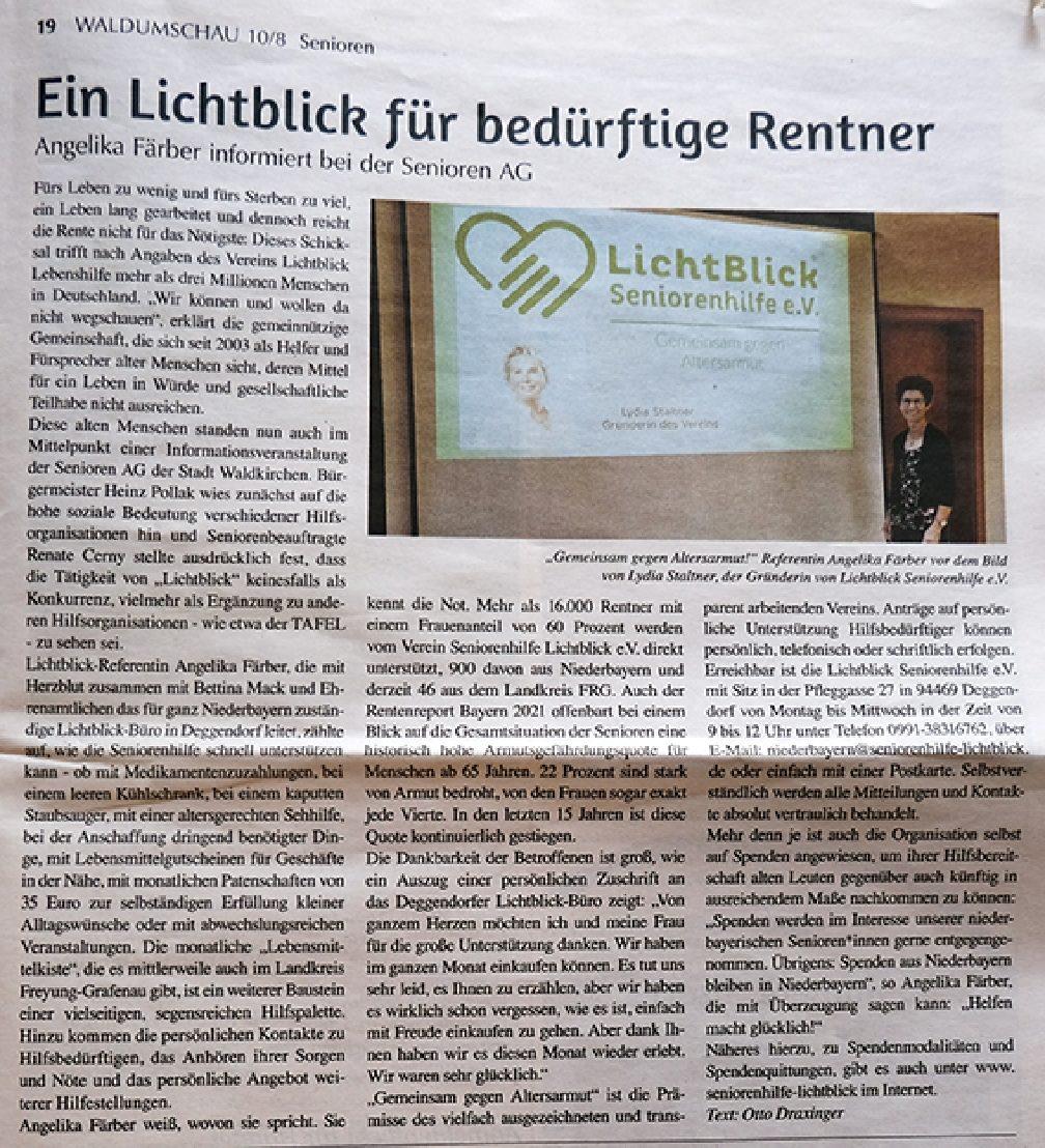 10.08.2021 | Waldumschau Freyung Grafenau | Ein Lichtblick…