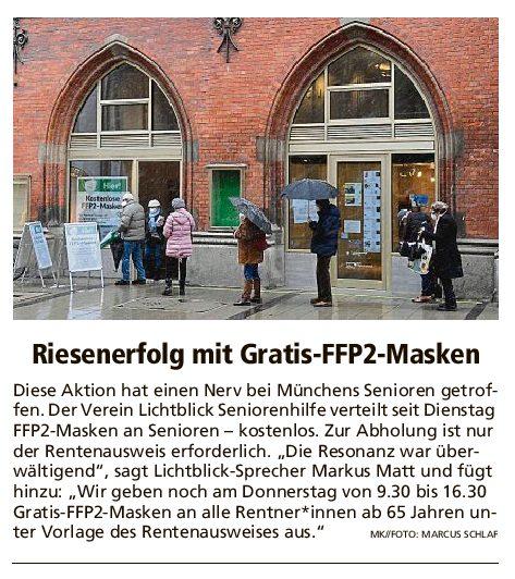 11.02.2021 | Münchner Merkur | Riesenerfolg mit Gratis-FFP2-Masken