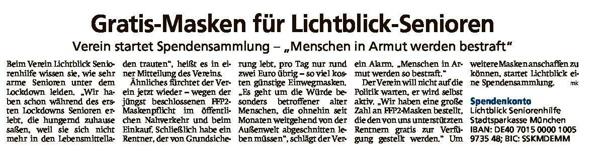 14.01.2021 | Münchner Merkur | Gratis-Masken für Lichtblick-Senioren