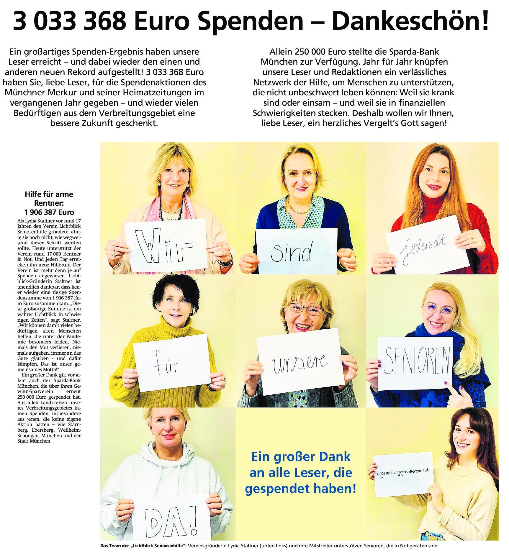 20.02.2021 | Münchner Merkur | 1.906.387 Euro Spenden für LichtBlick – Dankeschön!
