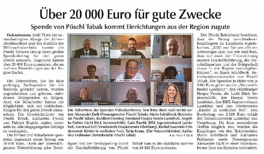 30.01.2021 | Vilsbiburger Zeitung | Über 20.000 € für gute Zwecke