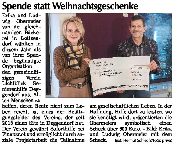 24.12.20 | Straubinger Tagblatt  | Spende statt Weihnachtsgeschenke