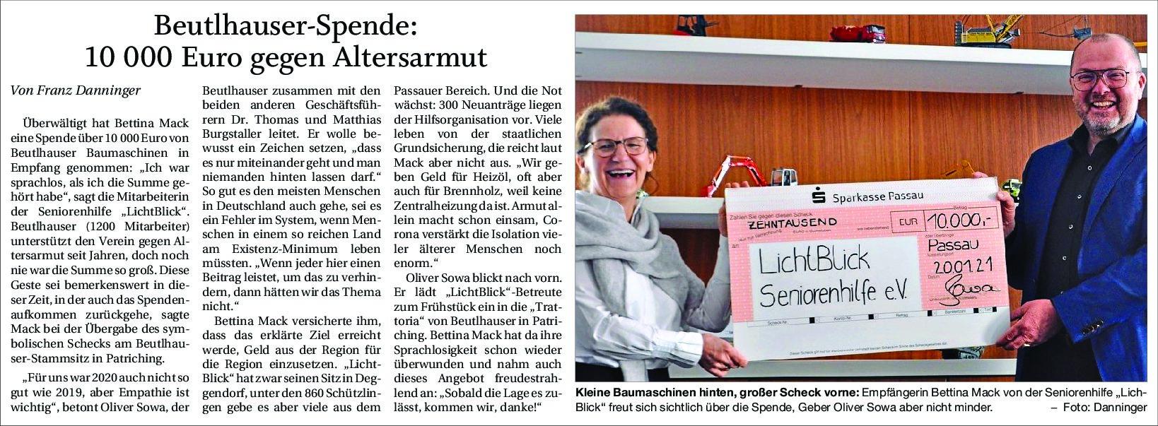 26.01.2021 | Passauer Neue Presse | Beutlhauser-Spende