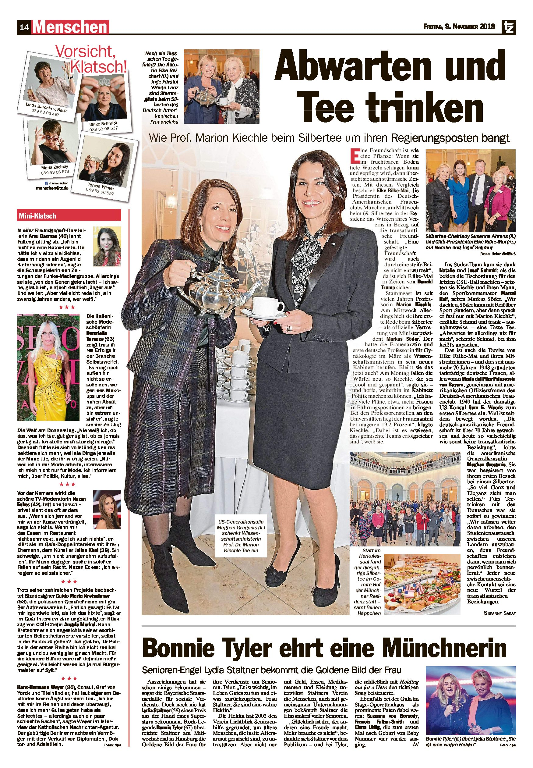 09.11.2018 | TZ | Bonnie Tyler ehrt eine Münchnerin