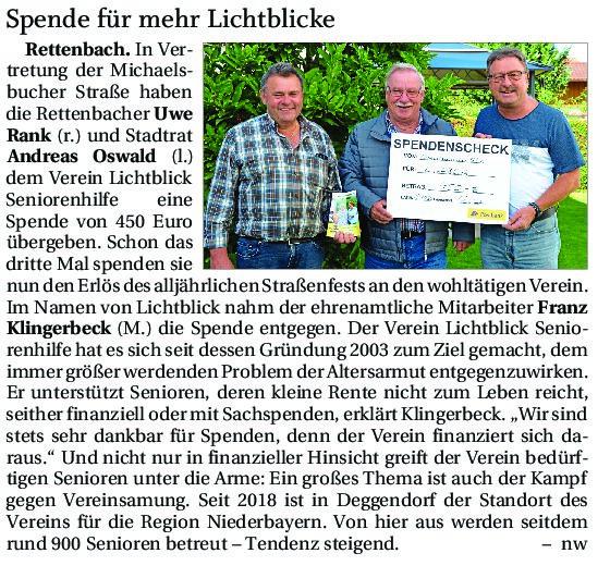 12.10.2021 | Deggendorfer Zeitung | Spende für mehr Lichtblicke