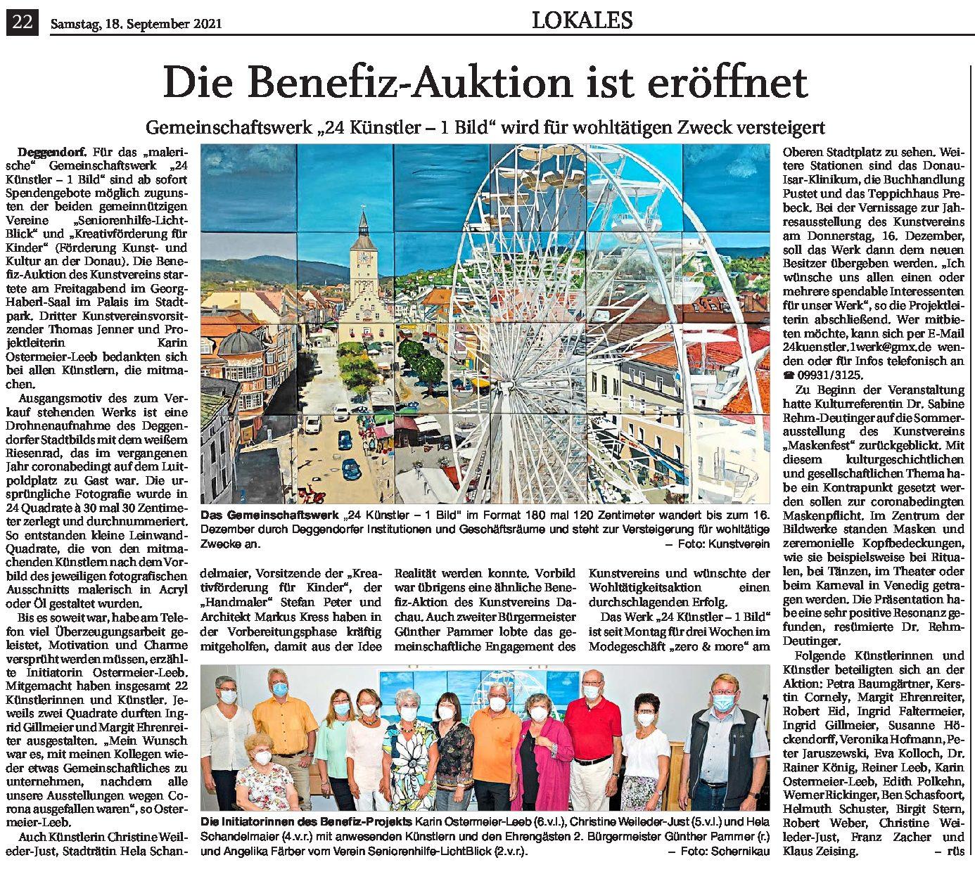 18.09.2021 | Deggendorfter Zeitung | Die Benefiz-Auktion ist eröffnet