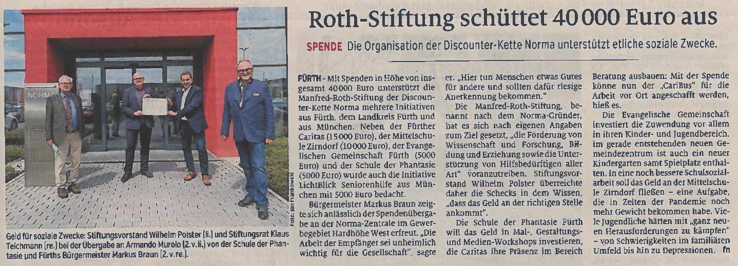 13.08.2021 | Fürther Nachrichten | Roth Stiftung schüttet 40.000 Euro aus