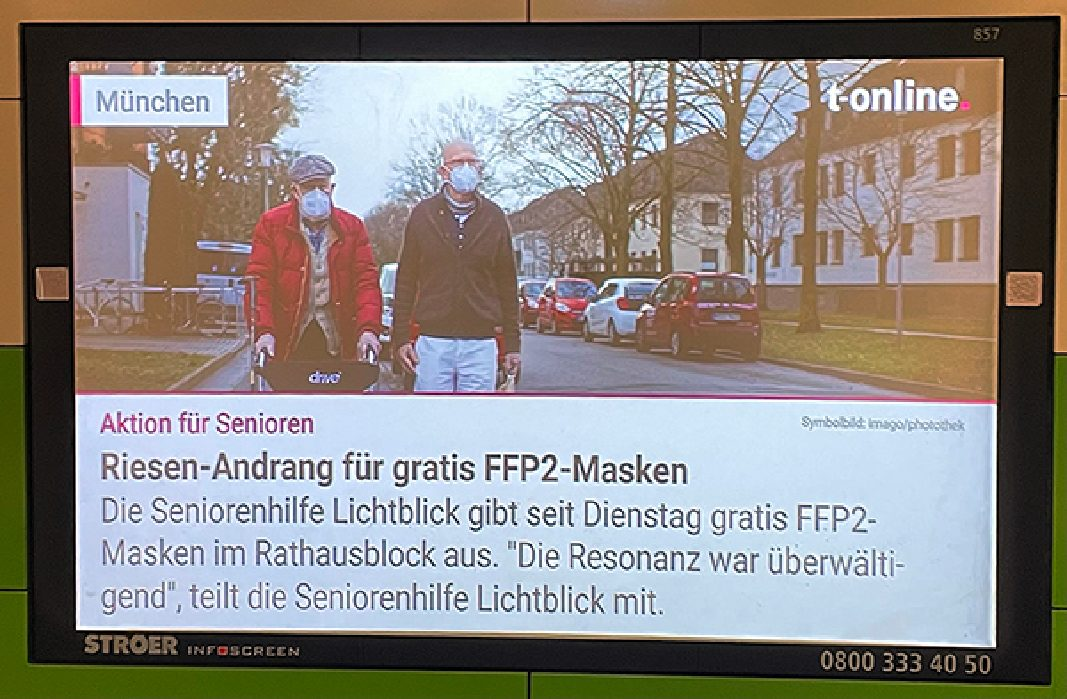 12.02.2021 | Infoscreens ÖPNV | Riesen-Andrang für gratis FFP2-Masken