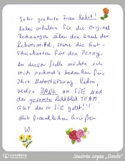 Dankesbrief einer armen Seniorin