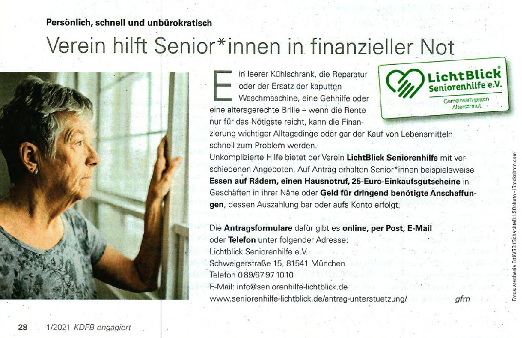 15.03.2021 | KDFB engagiert  | Verein hilft Senior*innen in finanzieller Not