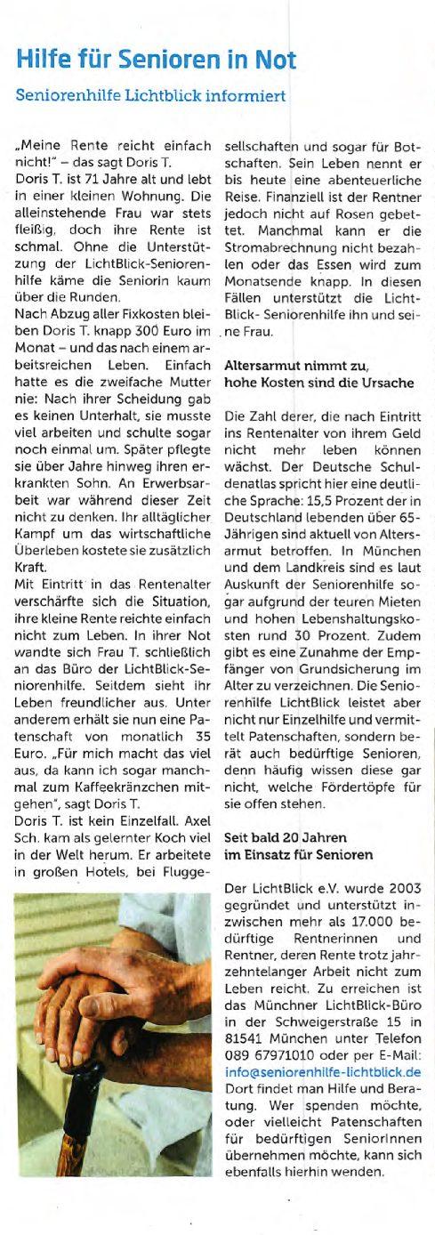 15.03.2021 | Gemeindejournal Unterhaching | Hilfe für Senioren in Not