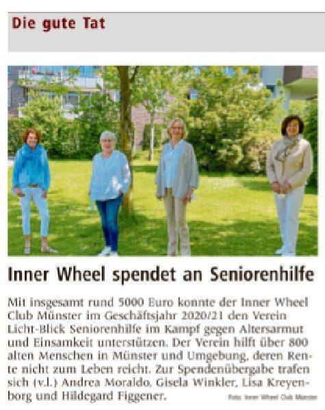 09.07.2021 | Münstersche Zeitung | Inner Wheel spendet an Seniorenhilfe