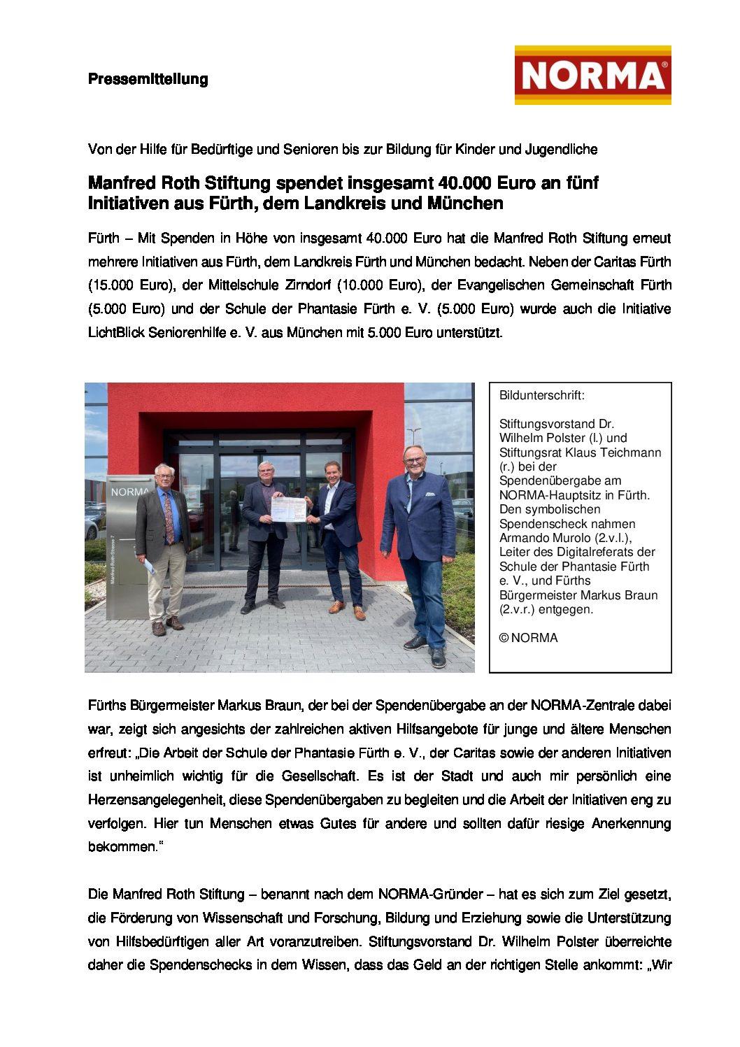 11.08.2021 | Pressemitteilung NORMA | Manfred Roth Stiftung spendet insgesamt 40.000 Euro
