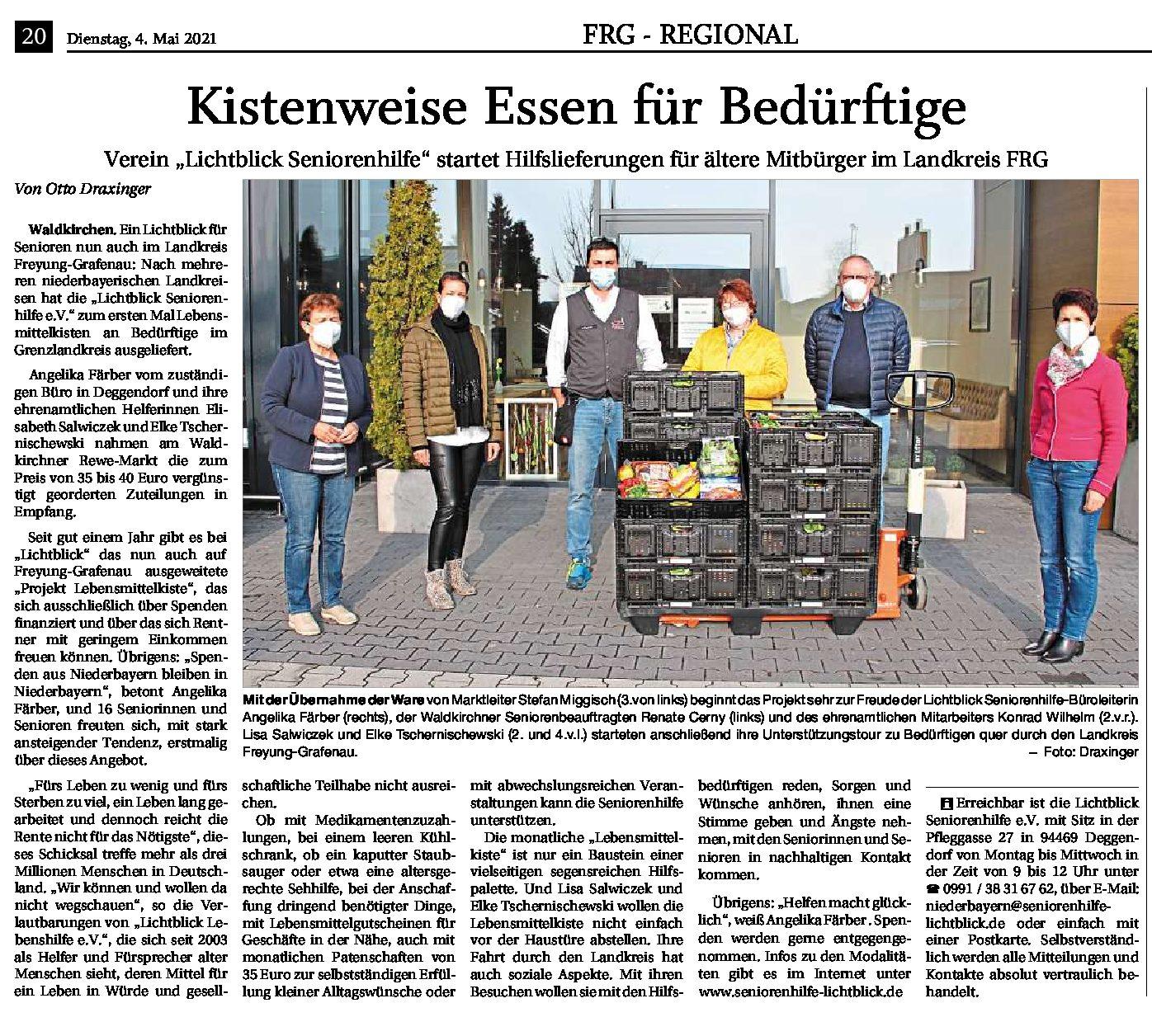 04.05.2021 | Passauer Neue Presse | Kistenweise Essen für Bedürftige