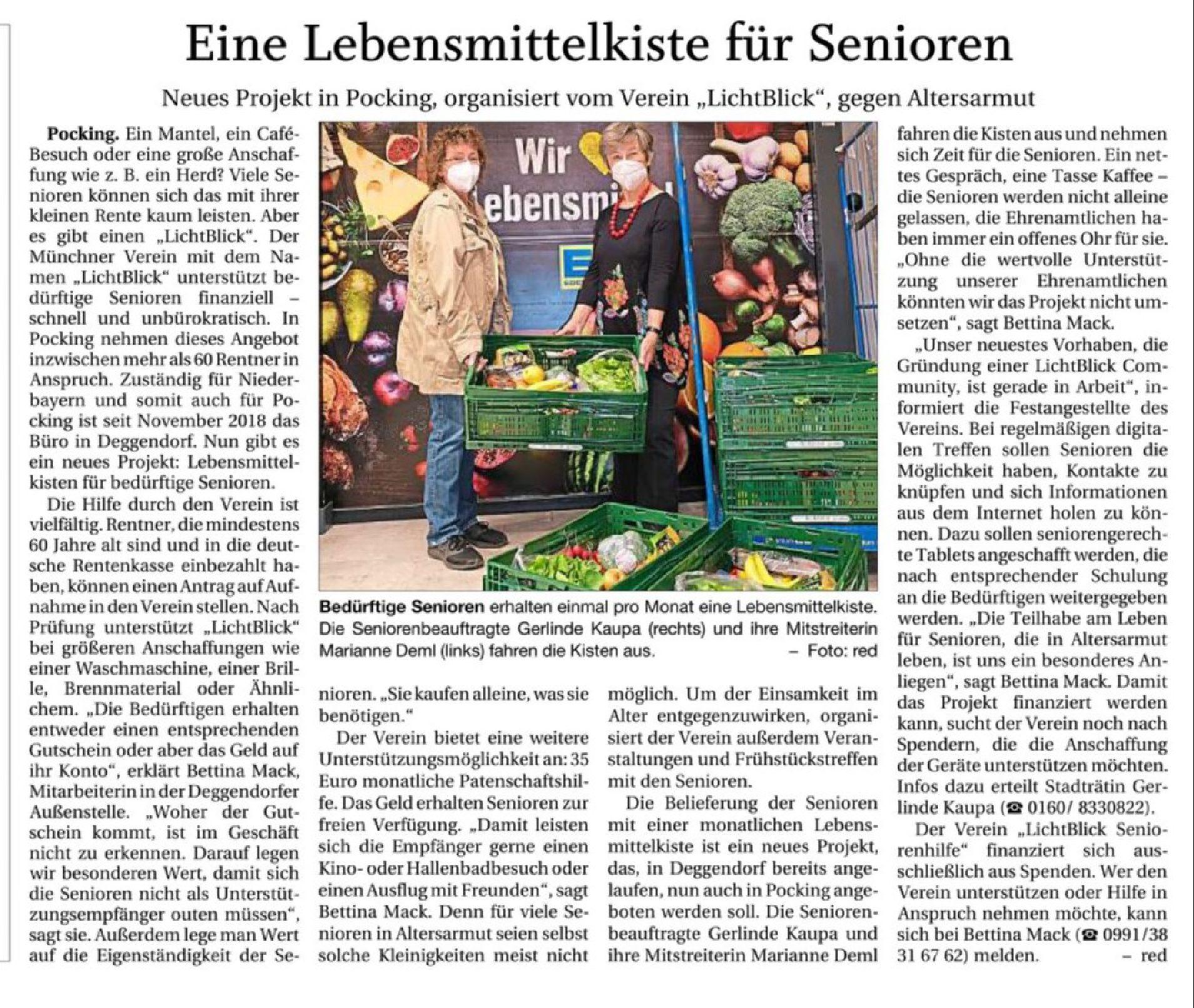 01.05.2021 | Passauer Neue Presse | Eine Lebensmittelkiste für Senioren