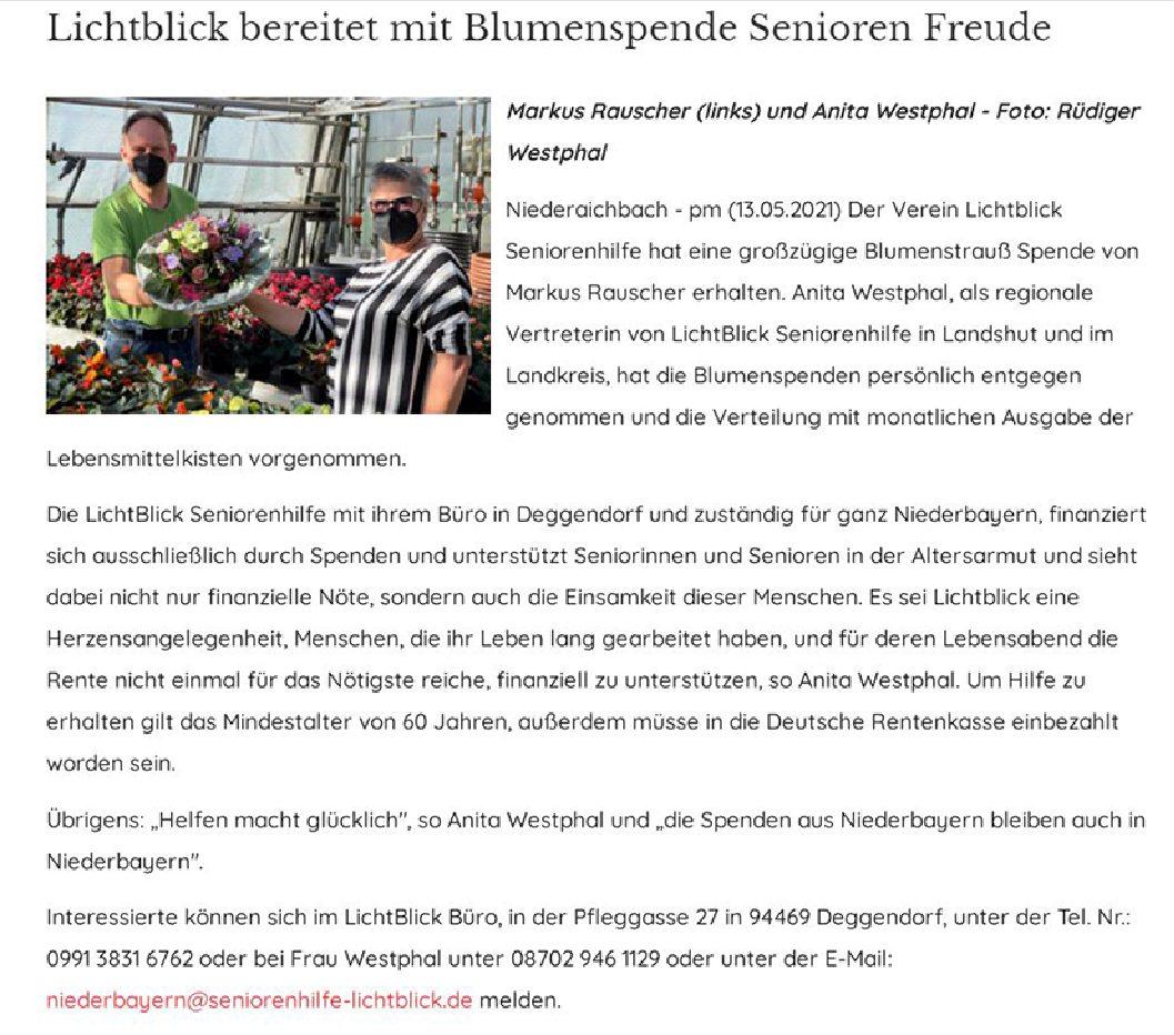 13.05.2021 | Presse Landshut | Blumenspende