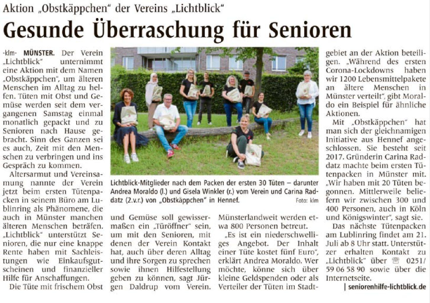 30.06.2021 | Westfälische Nachrichten | Gesunde Überraschung für Senioren