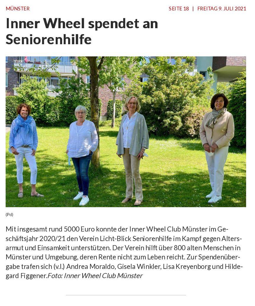 09.07.2021 | Westfälische Nachrichten | Inner Wheel spendet an Seniorenhilfe
